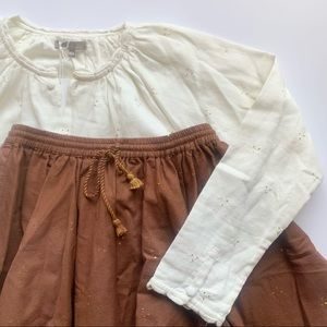 Emile et ida Skirt and Blouse Dots embroidered